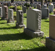 tombstones in cemetry